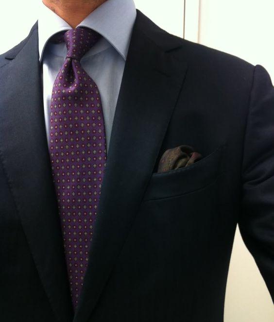 Navy suit purple tie light blue shirt men 39 s fashion for Purple and blue shirt