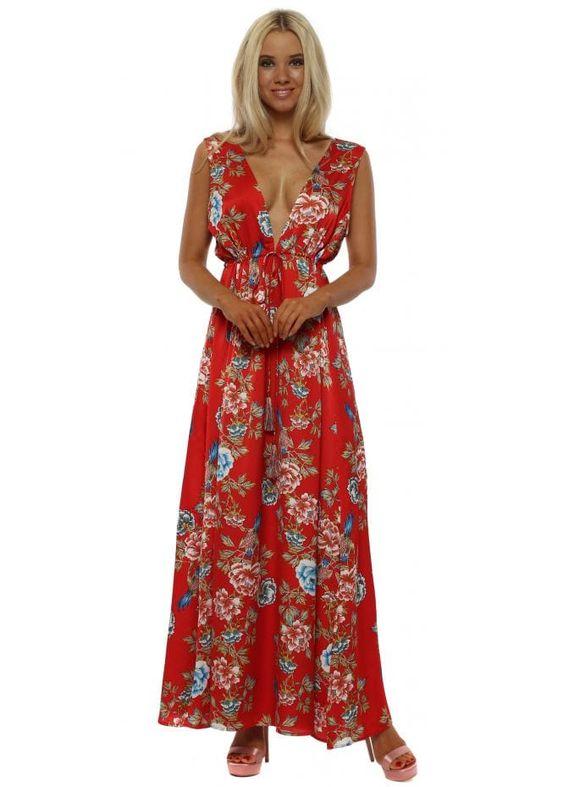 Frime Red Floral Print Maxi Dress Maxi Dress Floral Print Maxi Dress Printed Maxi Dress