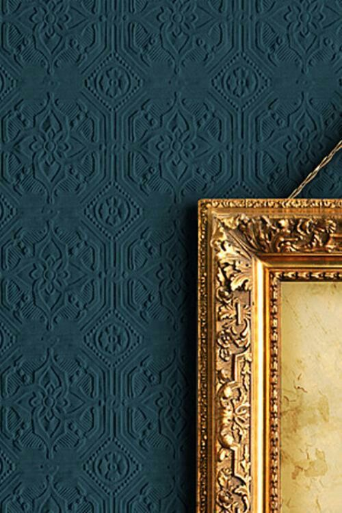 Pin 4. What stunning Embossed wallpaper here next to the gold plated frame. This still can be used in any room as well as colours.