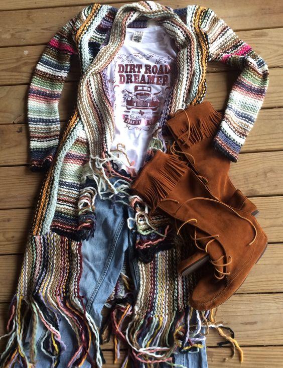 dirt road dreamer tee, Maggie Mae sweater, Woodstock mocs // junk gypsy co