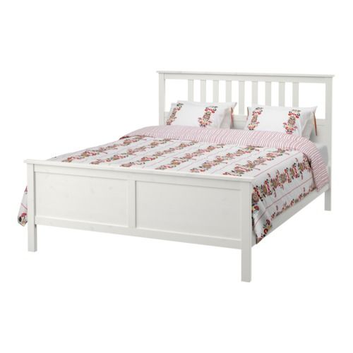 IKEA - HEMNES, Bed frame, Luröy, Standard Double, , Made of solid wood, which is a hardwearing and warm natural material.Adjustable bed sides allow you to use mattresses of different thicknesses.17 slats of layer-glued birch adjust to your body weight and increase the suppleness of the mattress.