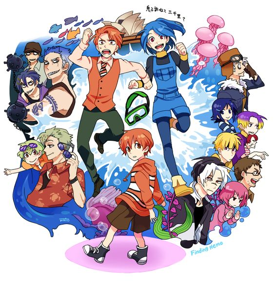 Finding Nemo - anime style (Artist Unknown). Oh me gato, they should totally make this into an actual anime/manga! It would be so cute!!