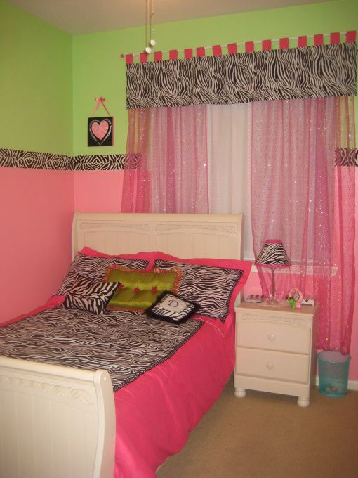Superior Pink, Green And Zebra Bedroom, This Is My Daughters Bedroom. She Wanted The  Theme To Be Pink, Green And Zebra. The Walls Are Behr Candy Coated Anu2026