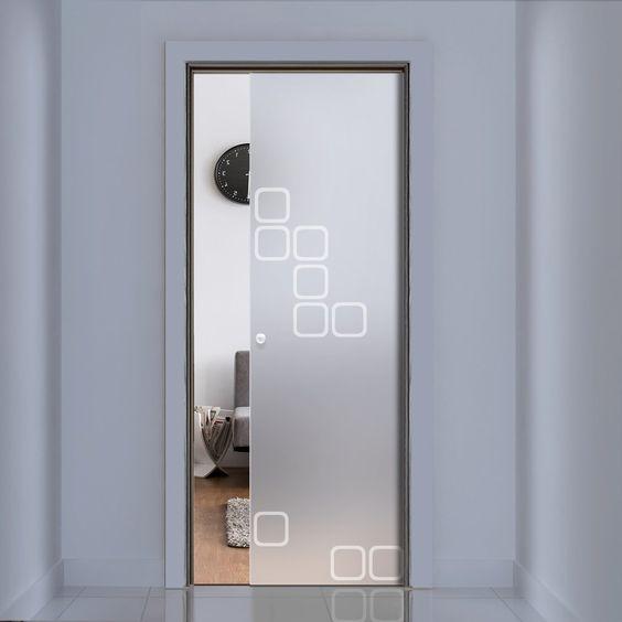 Eclisse 10mm Space Age 2 Sandblasted Design On Clear Or Satin Glass Pocket Door Glassdoor Fullgl Glass Pocket Doors Door Glass Design Contemporary Doors