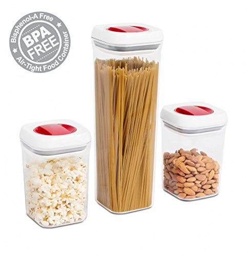 Internets Best Spin Lock Airtight Canisters Set Of 3 2 Square 1 Tall Container Stacking Food Storage Twist Lock Sugar Pasta F Food Food Storage Pasta Flour
