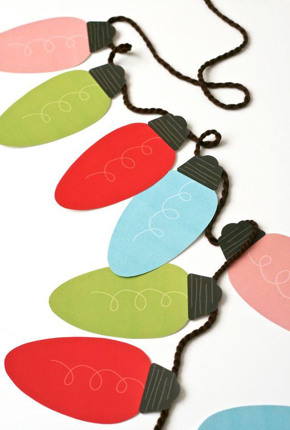 Jumbo Christmas Light Bulb Garland with FREE PRINTABLE template   Paging Supermom