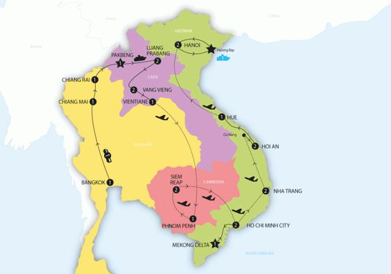 Tour map of Contiki 'Big Indochina Adventure' So cool 25 day tour!