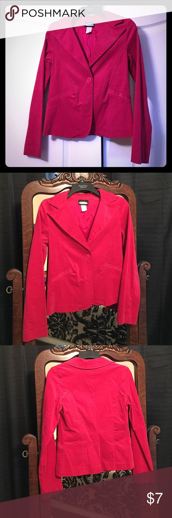 Medium, hot pink 1 button suit jacket. Suit Jacket By WearEver, HotPink, Size Medium, Dry Clean Only, corduroy type material, 1 large button, 3%spandex, 97% cotton #sizeMedium #medium #drycleanonly #suitjacket #jacket #HotPink #wearEver #casual #business #spring #winter #summer #fall #businesswear #BossLady #workwear WearEver Jackets & Coats Blazers