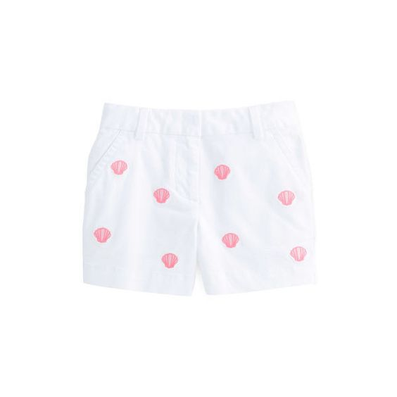 Girls Shell Embroidered Boulevard Shorts ($50) ❤ liked on Polyvore featuring girl pants and little bottoms