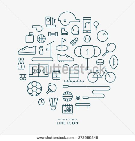 sport and fitness line icons infographic vector