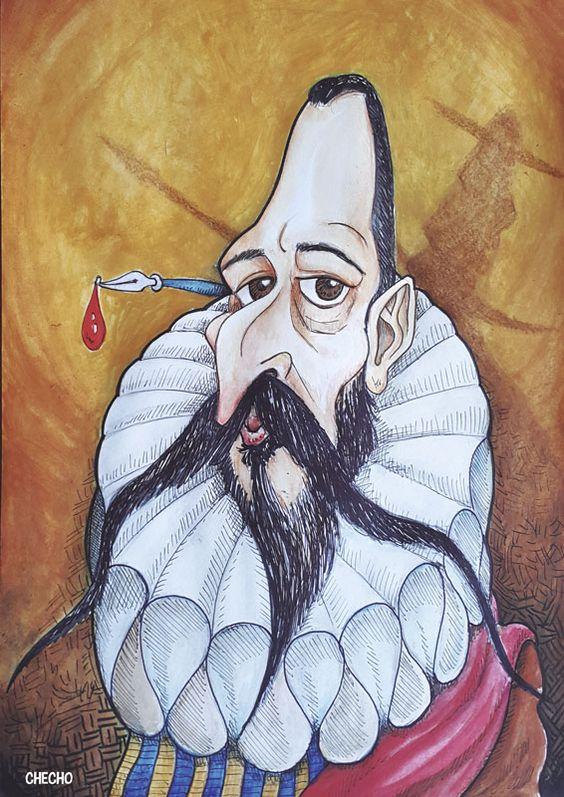 Caricatura de Cervantes, por Checho. 81 de 100. #100carasCervantes