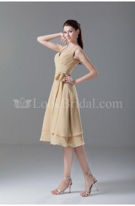A-Line V-neck Knee-Length Chiffon Graduation Dress with Sash