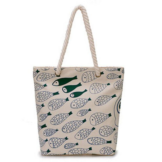 $16.34 (Buy here: http://appdeal.ru/77b9 ) 2016 New Summer beach bag women shopping bag fashion handbag casual print fish canvas tote top quality shoulder bag wholesale  for just $16.34