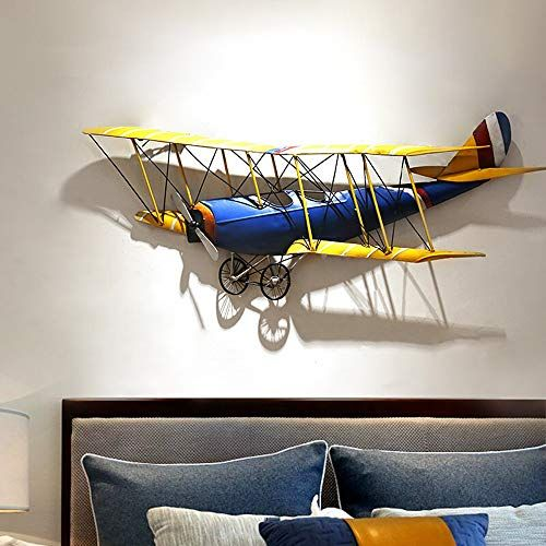 Deprq Large Metal Wall Art Decorative Retro Style Wall Sculpture Wall Plaques Vintage Airplane Design In 2020 Iron Wall Decor Wrought Iron Wall Decor Airplane Wall Art