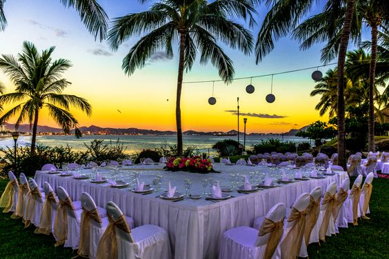 Wedding at sunset in