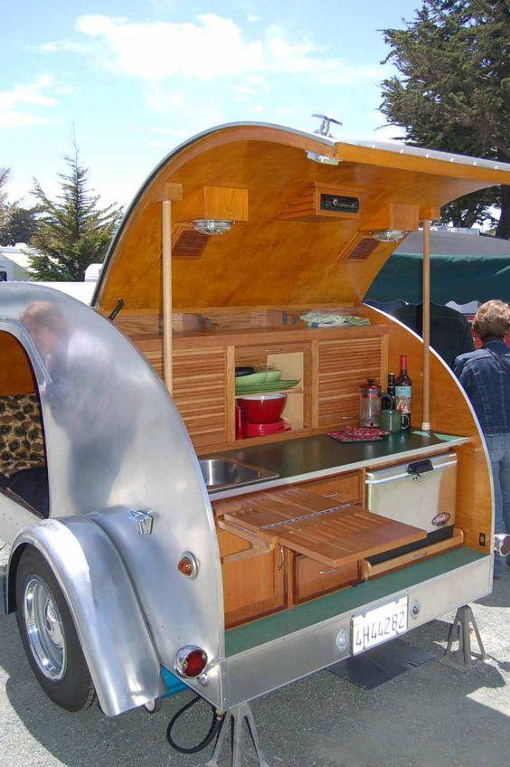 Teardrop trailer mobiles and trailers on pinterest for Teardrop camper kitchen ideas
