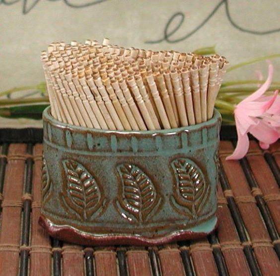 Ceramic Toothpick Holder by flyingpignc on Etsy