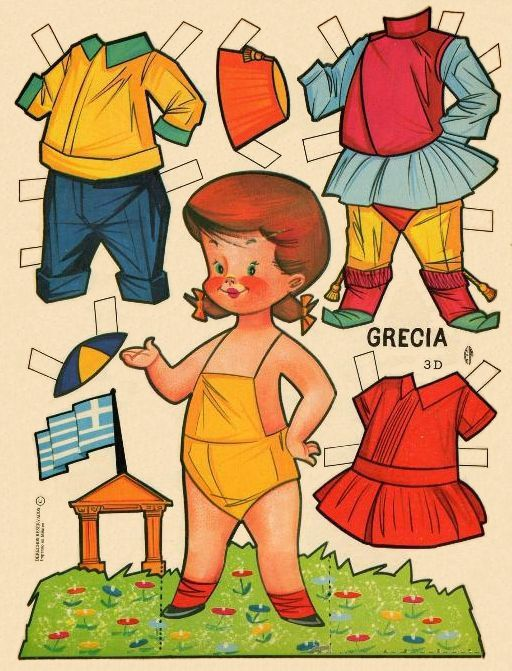 PDs in costumes of other countries: Greece, 1960s Paper Dolls from Mexico - free to print.