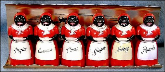 Black Aunt Jemima Spice Shakers with Rack - Vintage