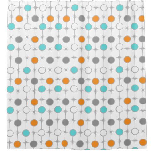 Retro Dots And Starbursts Shower Curtain Zazzle Com Vintage