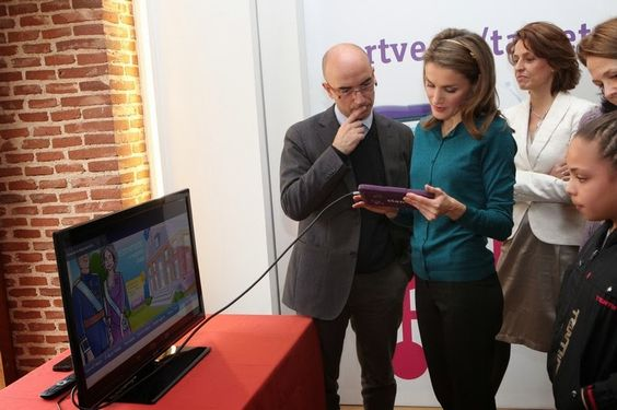 """14 December 2013 Princess Letizia visited the 37th children and youth fair Madrid book, """"We are over the moon"""" at Conde Duque in Madrid."""