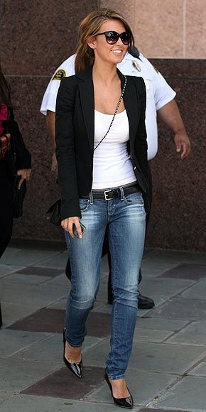 Can't go wrong with white t-shirt, jeans, heels, and a bf blazer...so cute!