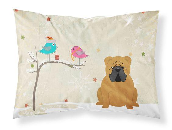 Christmas Presents between Friends English Bulldog Red Fabric Standard Pillowcase BB2594PILLOWCASE