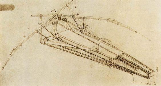 Drawing of a Flying Machine. Leonardo. 1485. Engineering Themes. Pen and ink on paper. 23 x 16 cm. Bibliothèque de l'Institut de France. Paris.