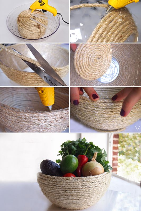 DIY rope bowl. [You will need: Bowl (we bought ours at the 99¢ store)1 package of sisal rope, Glue gun, Glue, and Scissors]