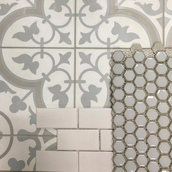 Cheverny Blanc Encaustic Cement Wall And Floor Tile 8 X 8 In 15 99 Sq Ft Coverage 5 40 Sq Ft Per Box Hex Glo Room Tiles Design Laundry Room Tile Room Tiles