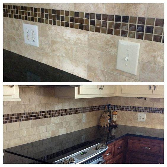 Kitchen Backsplash With Glass Tile Accents: Subway Tile With Accent Tile