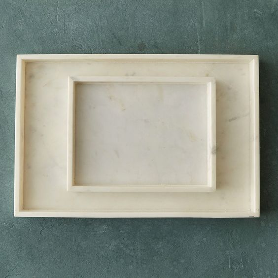 Square Marble Tray, Set of 2