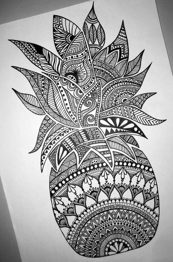 Pineapple Mandala Zentangle Pinteres