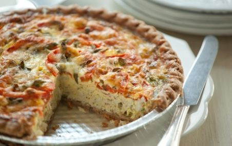 Crab, Scallion and Tomato Quiche // Make this affordable by using canned lump crab meat... it's fantastic! #recipe