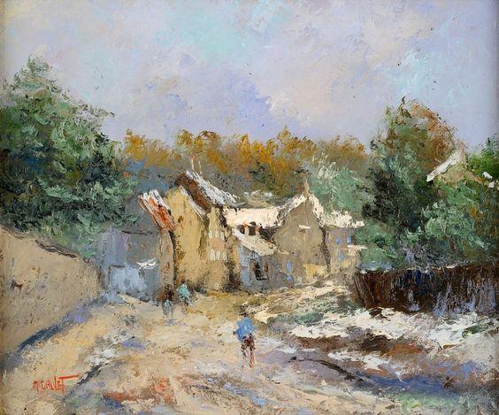 Calvet, Michel 1956 Toulouse Dorfstraße. Signiert. Öl/Lwd., 48 x 55 cm