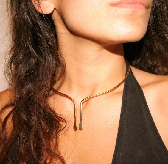 Minimal Chic girocollo collana in oro fatti a mano - argento 925 filo aperto bracciale collana: