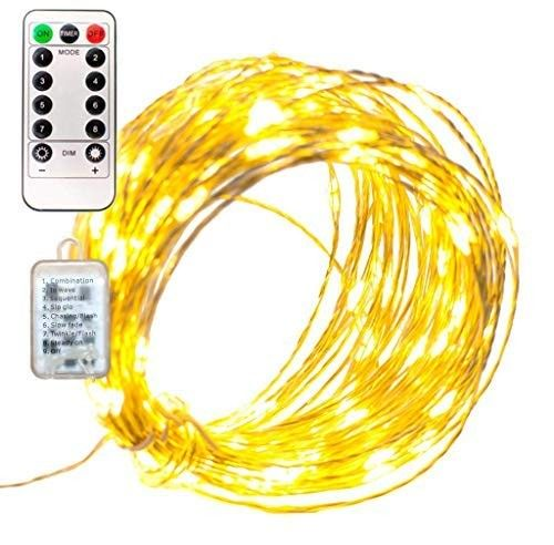 Led Fairy Lights 40ft Plug In 120l Remote Control Operated 8 Function 12v Transformer Silver Wire Warm White Hanging Wire Lighting Christmas Wedding New Years H Holiday Party Lights Led Fairy Lights