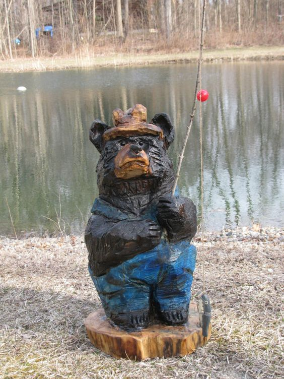 Chainsaw carvings and black bear on pinterest