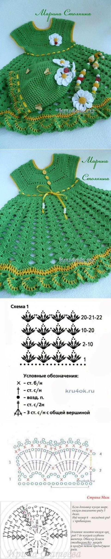 Комплект для девочки: платье, шапочка и бусы - вязание крючком на kru4ok.ru:
