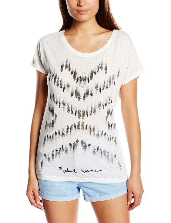 ONLY Damen T-Shirt Onlindie Ss Feather/rebel Top Box Ess, mit Print: Amazon.de: Outlet