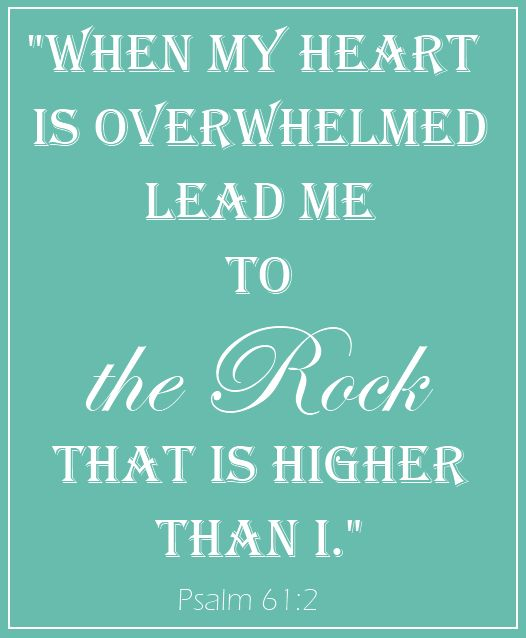 "Psalm 61:2  The word for ROCK here means ""boulder"".  A boulder is solid and will not move♥♥"