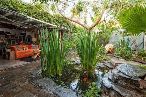 Koi pond - love the stones