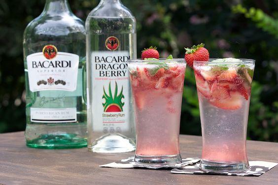 Strawberry Basil Mojitos