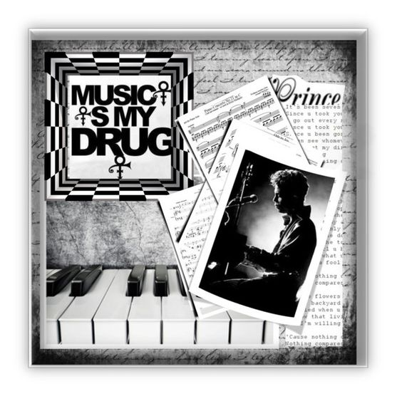"""Music is My Drug"" by conch-lady ❤ liked on Polyvore featuring art"