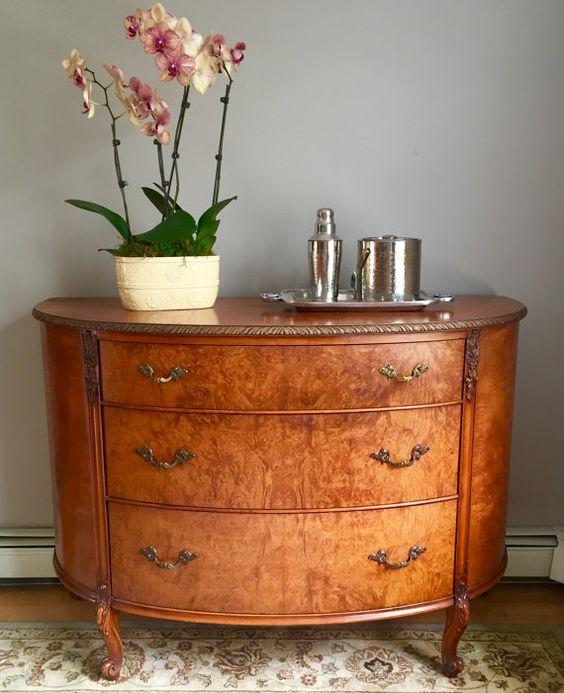 Vintage Art Nouveau Bow Front Dresser  Chest of by HausofVintage11