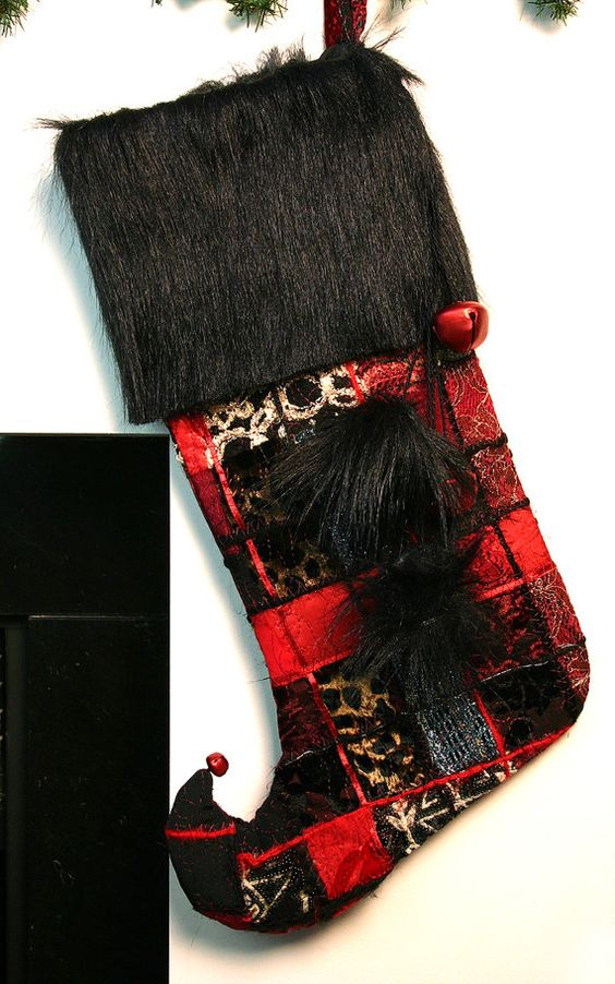 Patchwork Fantasy Christmas Stocking in reds/ black by JujuBart, $60.00