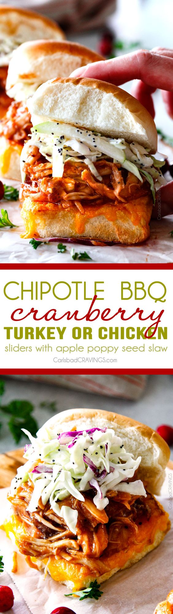 These 20 Minute Chipotle BBQ Cranberry Turkey Sliders (or chicken!) are INCREDIBLE!  I was eating the smothered turkey out of the pan!  the perfect way to devour your Thanksgiving turkey leftovers or SO good you will want to make them forever and ever with chicken!  And don't skip the crunchy, sweet and tangy out of this world Apple Poppy Seed Slaw!   via @carlsbadcraving