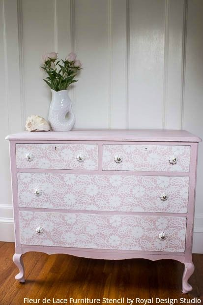 A Stenciled Lace Dresser That's Fit for a Princess - DIY Tutorial Painting with Royal Design Studio Furniture Stencils: