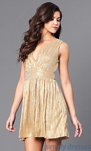 VJ-LD41365 - Empire-Waist Short Holiday Party Dress with V-Neckline