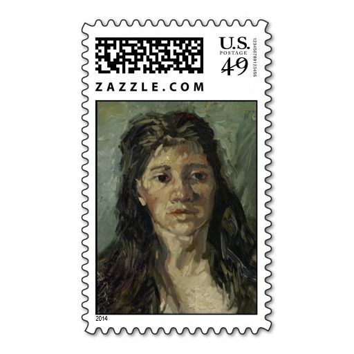 Woman with Loose Hair by Vincent Van Gogh Postage Stamps